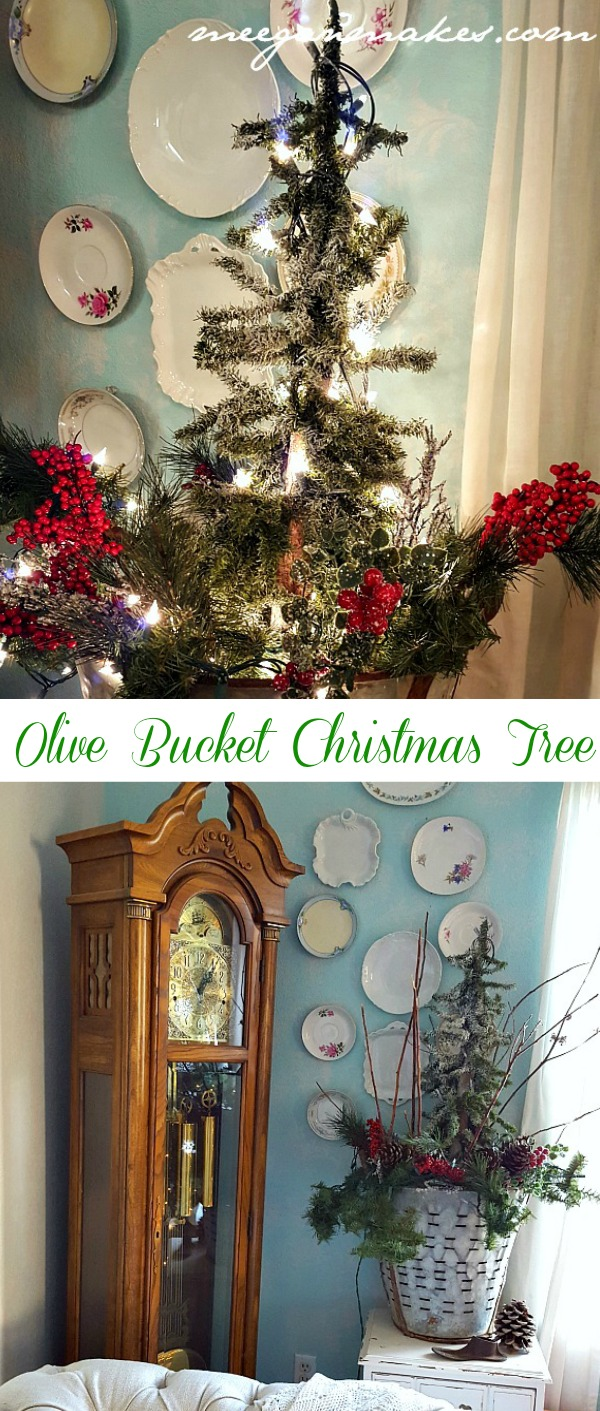 Christmas Tree in an Olive Bucket by meeganmakes.com