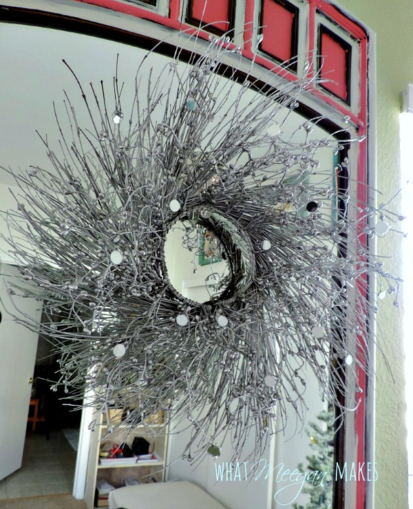 DIY Silver Christmas Wreath with Mirrors