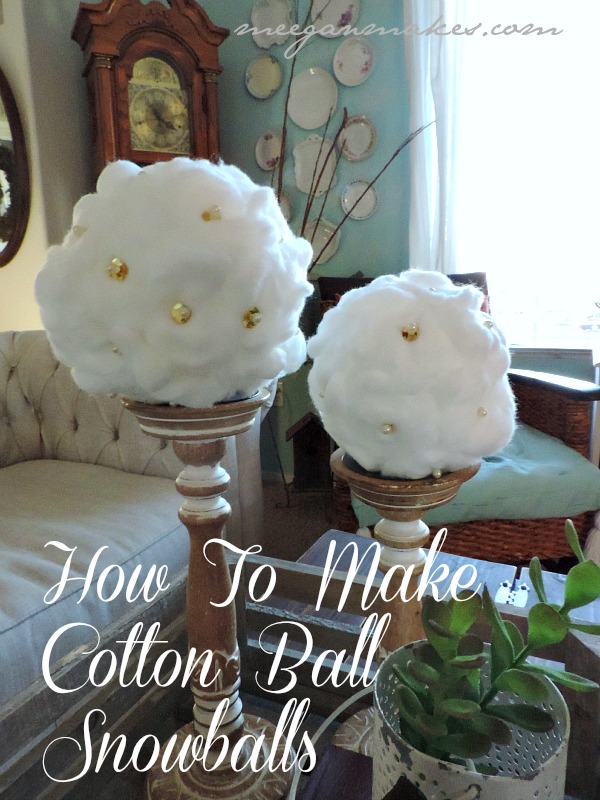 How To Make Cotton Ball Snowballs by meeganmakes.com