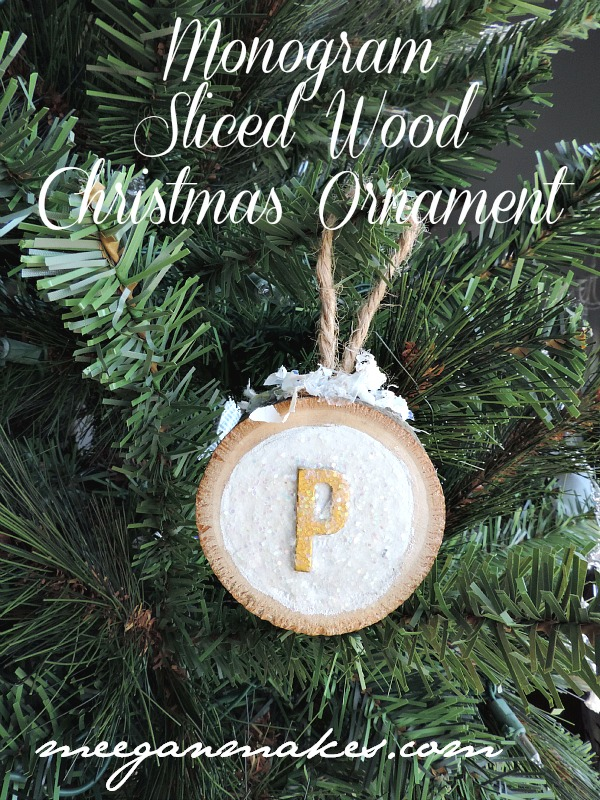 Monogram Sliced Wood Christmas Ornament