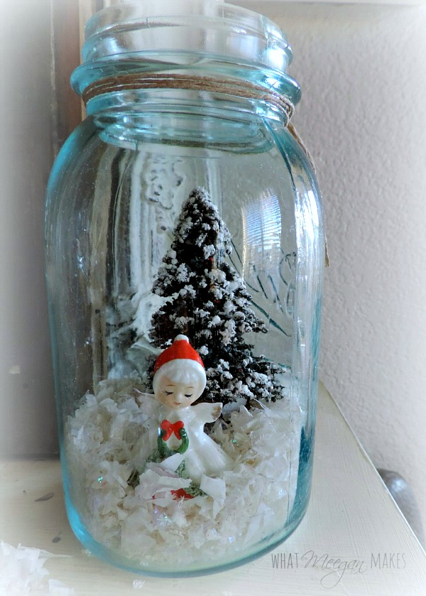 Vintage Christmas Angels in a Mason Jar