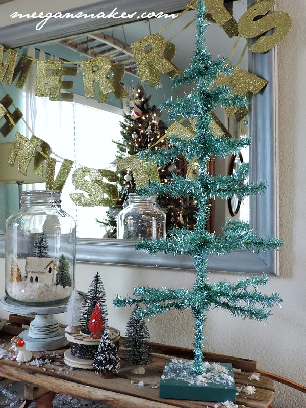 Blue Tinsel Christmas Tree