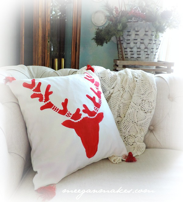 Christmas Home Tour Deer Pillow