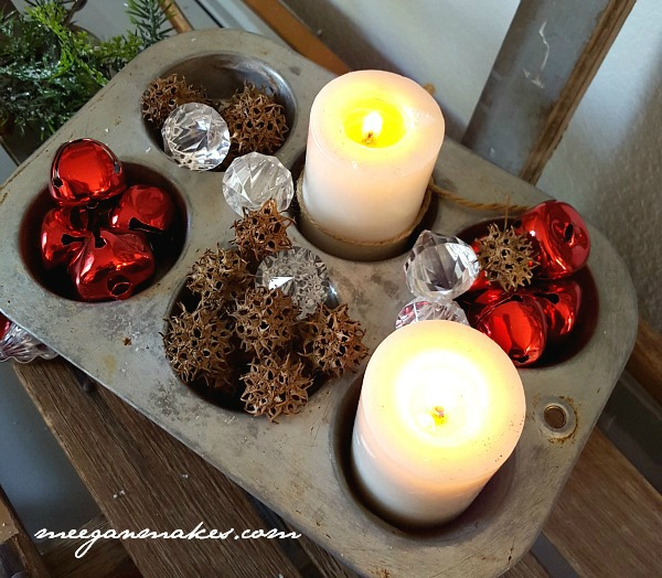 Christmas Muffin Tin with Candles and Bells