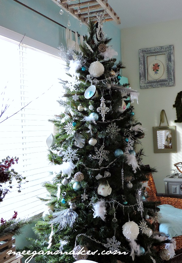 Christmas Tree with Feathers and Tea Cups by meeganmakes.com