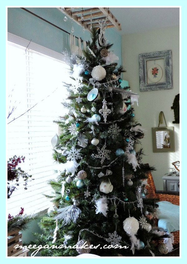Christmas Tree with Feathers and Tea Cups from meeganmakes.com
