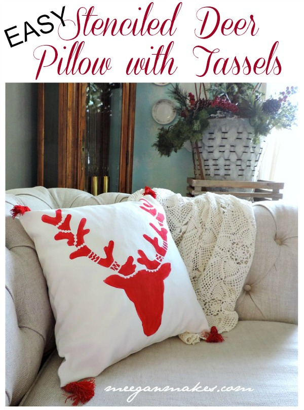 EASY Stenciled Deer Pillow With Tassels by meeganmakes.com
