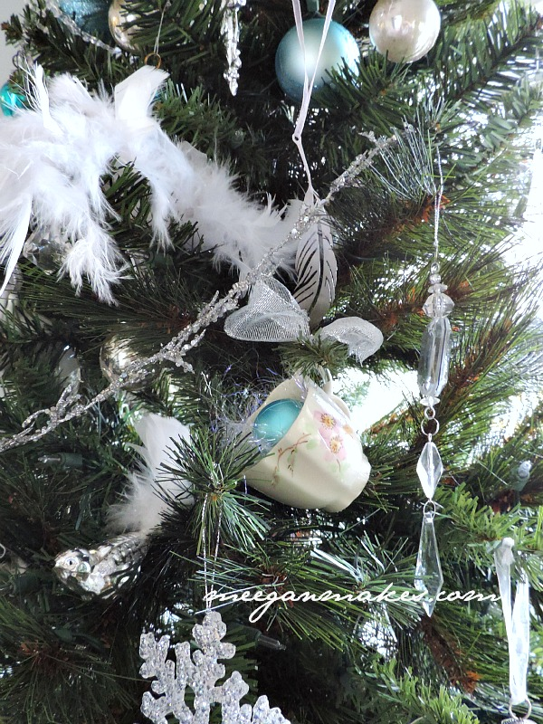 Feathers and Tea Cups on a Christmas Tree