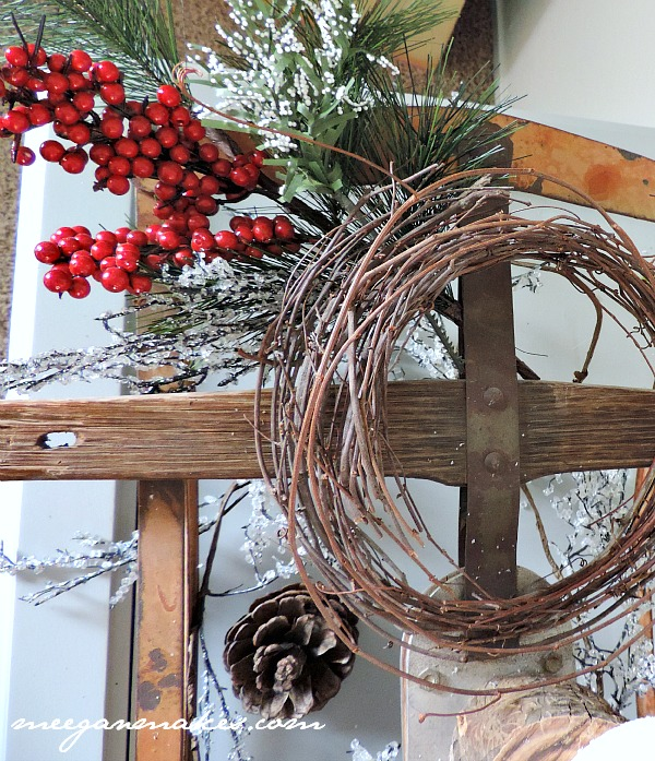 Grapevine Wreath on a Vintage Sled