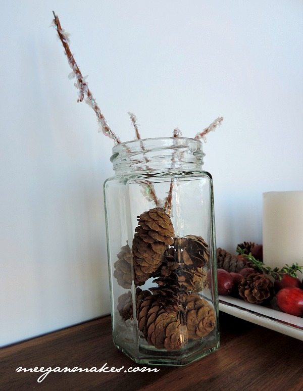 Pine Cones and Glittered Sticks