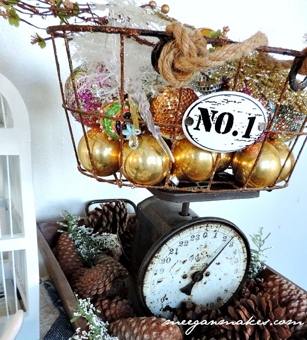 Vintage Scale and Ornament Basket