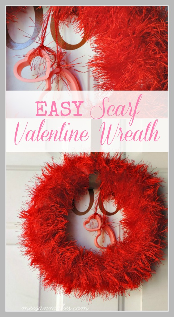 EASY Scarf Valentine Wreath by meeganmakes.com