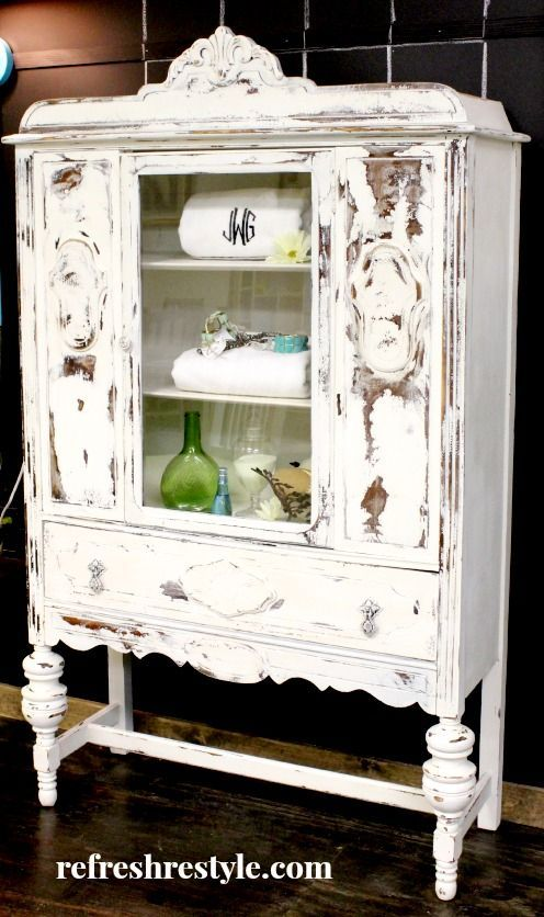 Heavily Distressed Armoire by Refresh Restyle