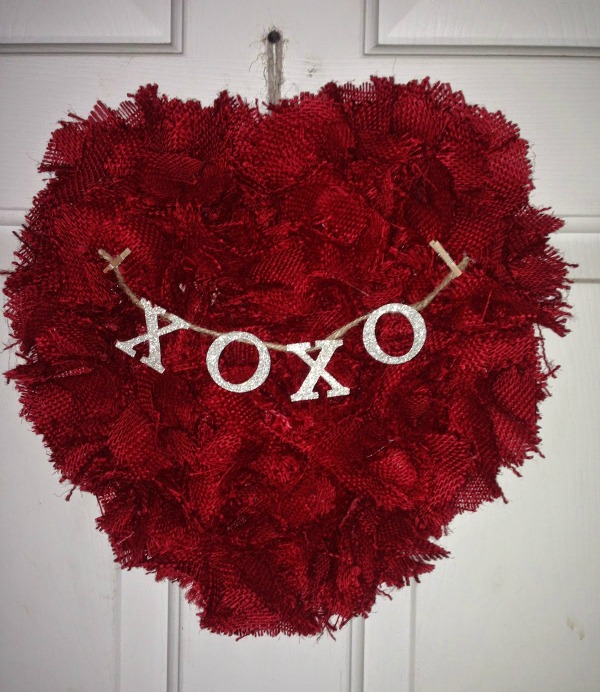 Red Burlap Valentine Heart