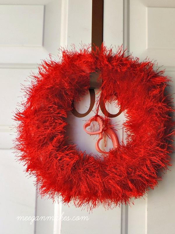Red Scarf Valentine Wreath with Cookie Cutter Hearts