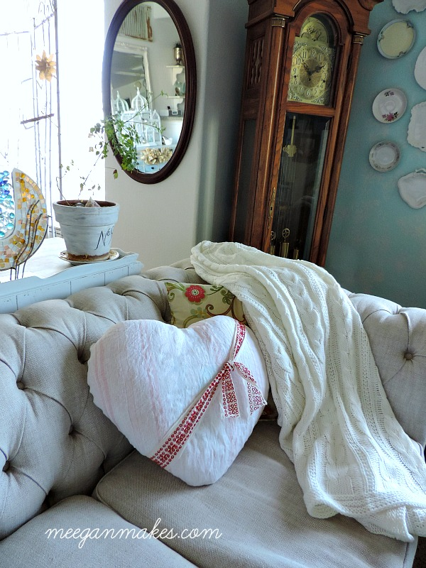 Vintage Fabric Heart PIllow