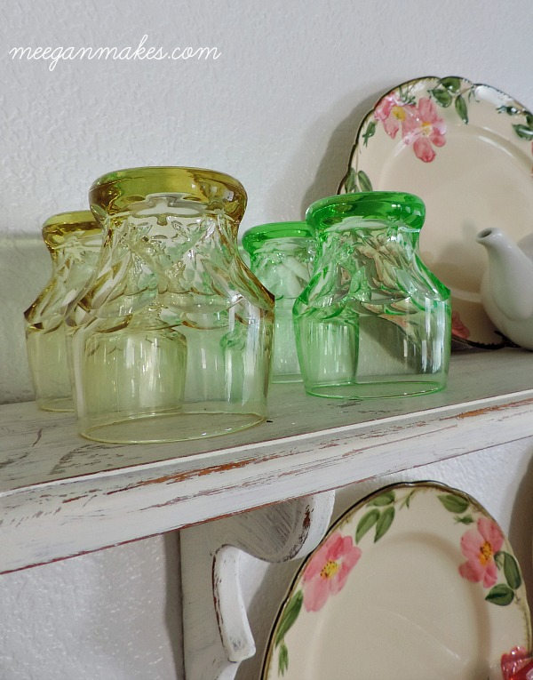 Green and Yellow Vintage Glasses