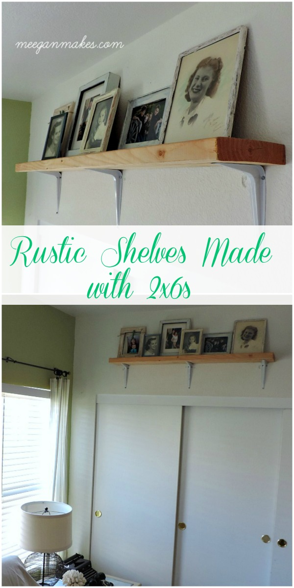 Rustic Shelves Made with 2x6s from meeganmakes.com