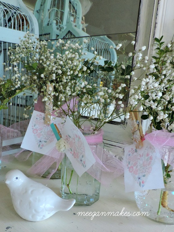 Baby or Bridal Shower Decorating with Vintage Jars and baby's breath