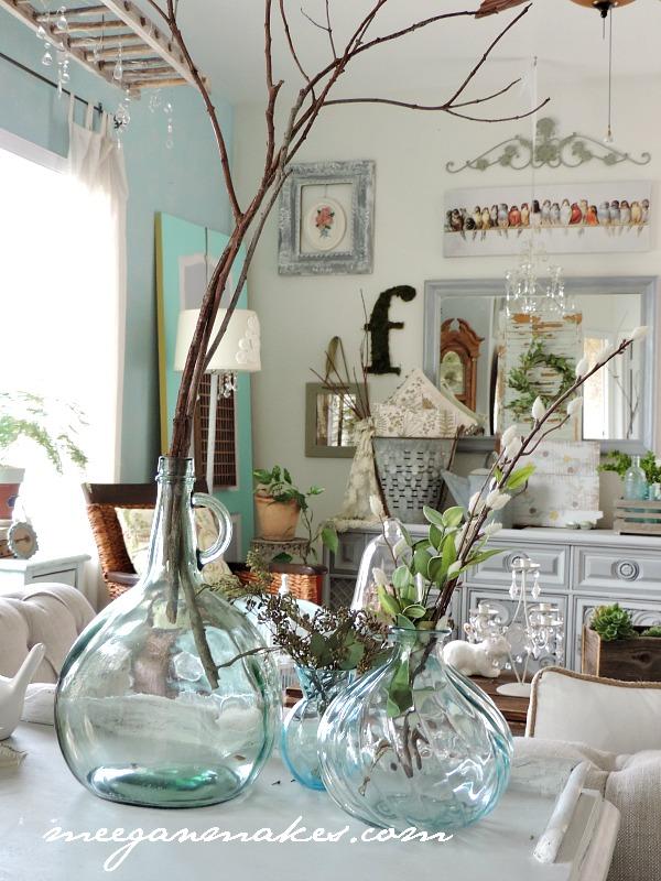 Blue Demi-Johns For Spring Decorating