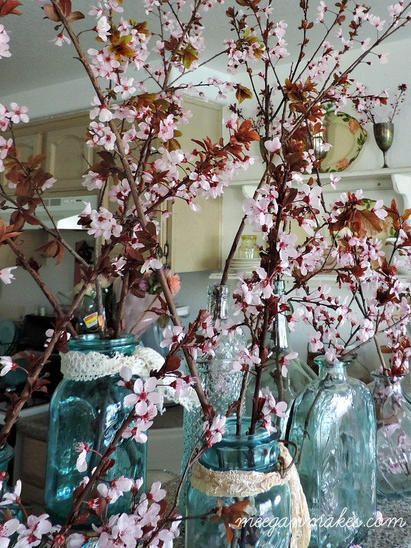 Cherry Blossoms in Vintage Mason Jars
