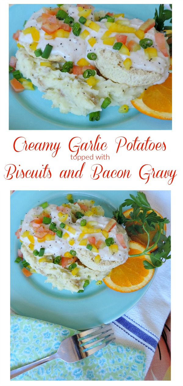 Garlic Potatoes With Biscuits & Bacon Gravy. Perfect for breakfast, lunch or dinner.