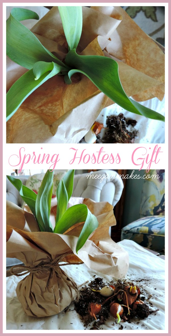 Easy to make Spring Hostess gift. Tulips wrapped in brown paper tied with jute