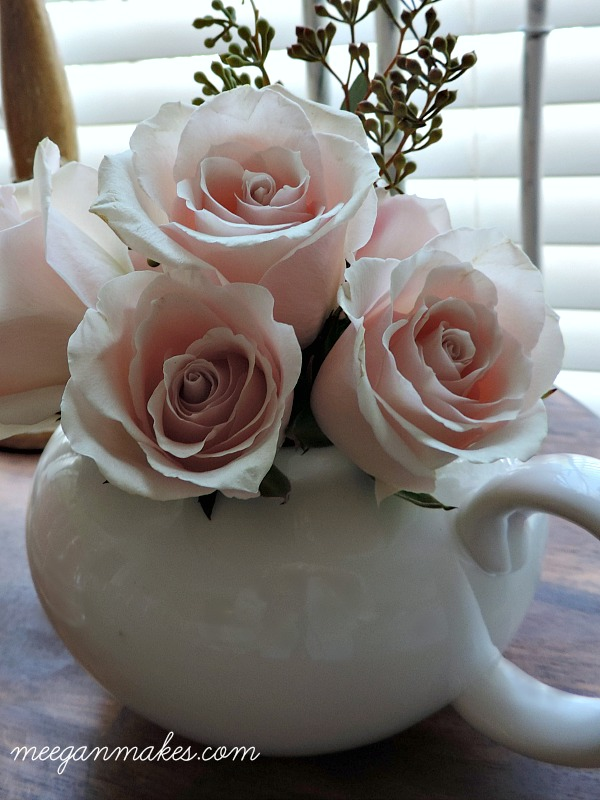 Fresh Roses in a Small Tea Pot