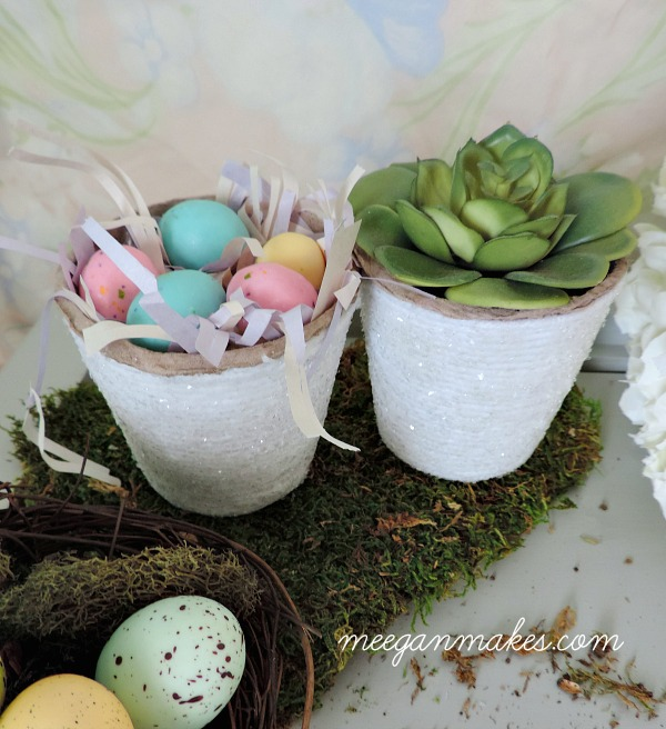 Peat Pot decorated with yarn, mod podge and glitter. SO easy. Perfect for Easter or Spring.