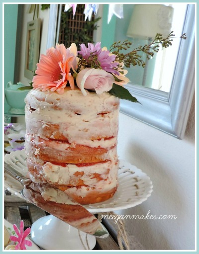 Rustic Cake with Butter Cream Frosting and Raspberry Filling Button