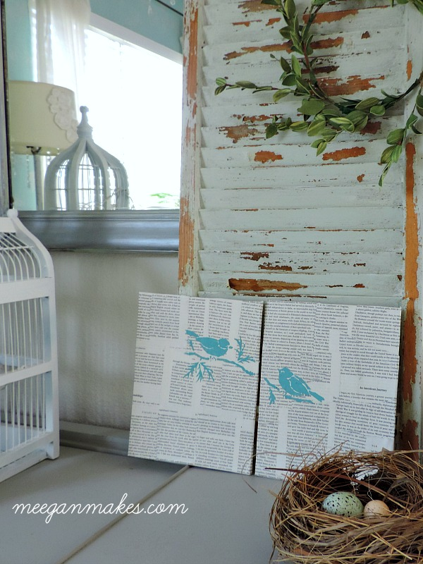 Spring Birds Stenciled on Book Pages