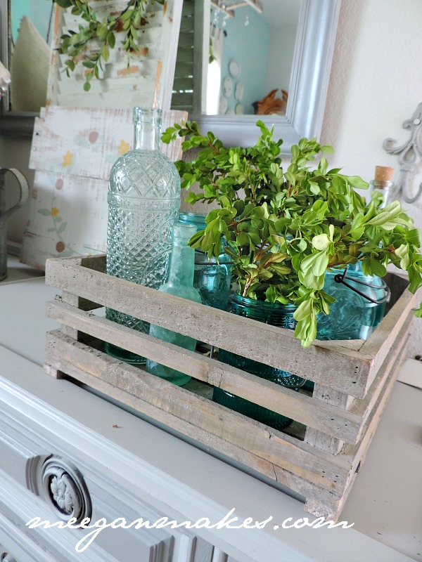Spring Decorating with a French Crate filled with Vintage Bottles and Mason Jars
