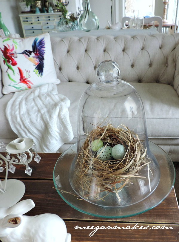 Spring Decorating with a real nest under a cloche'. I love this look.
