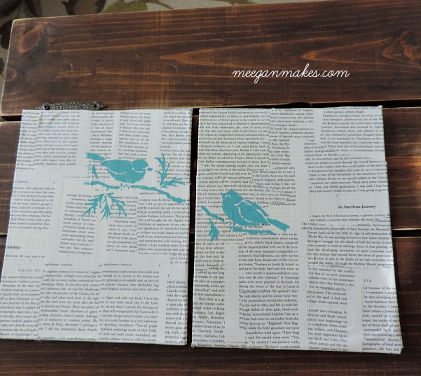 Stenciled Birds on Book Pages