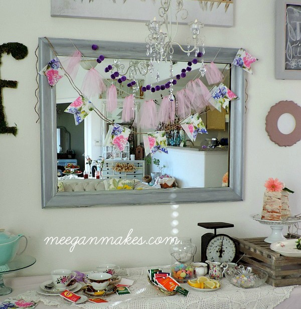 Three Spring Tea Party Pennants you can make with napkins, pom poms and tulle. SO easy.