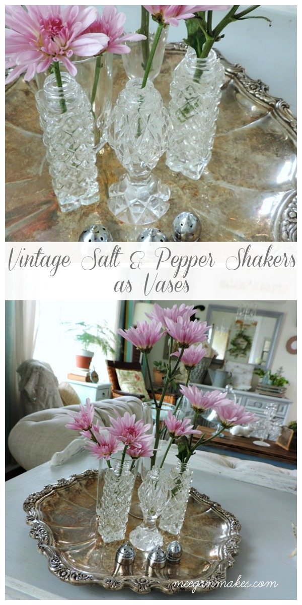 Vintage Salt and Pepper Shakers as Vases from meeganmakes.com