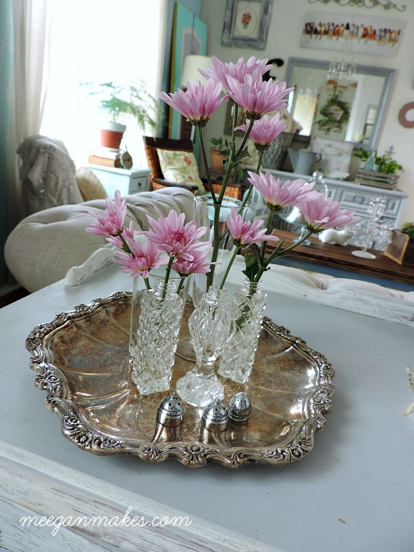 Vintage Silver Tray with Salt and Pepper Shakers as Vases.