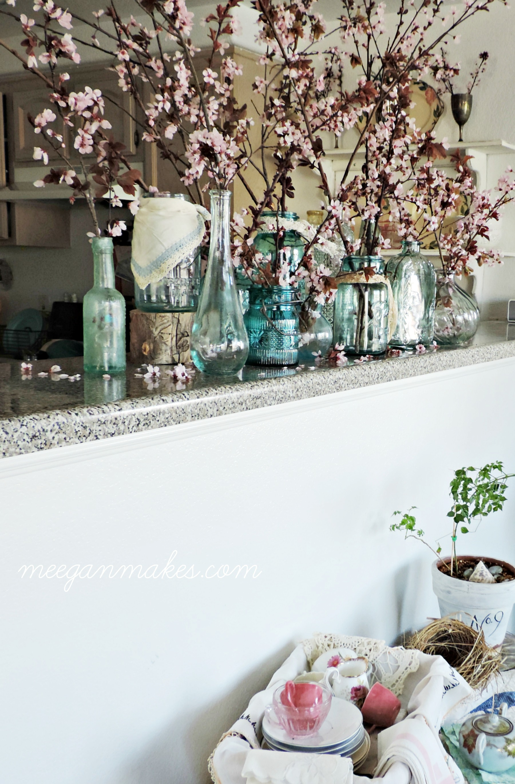 Cherry-Blossoms-In-Blue-Vintage-Mason-Jars