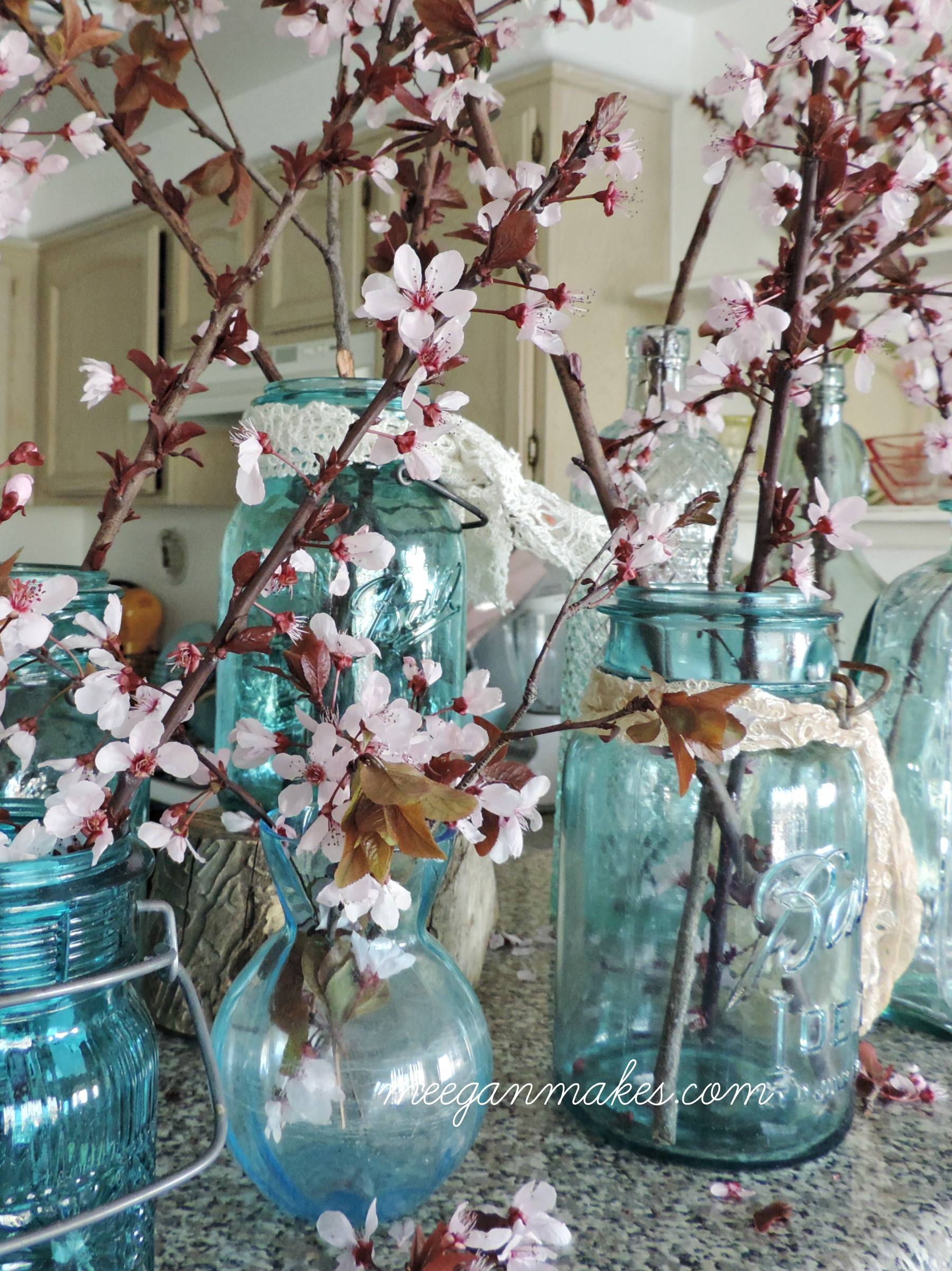 Mason Jars and Cherry Blossoms for Spring