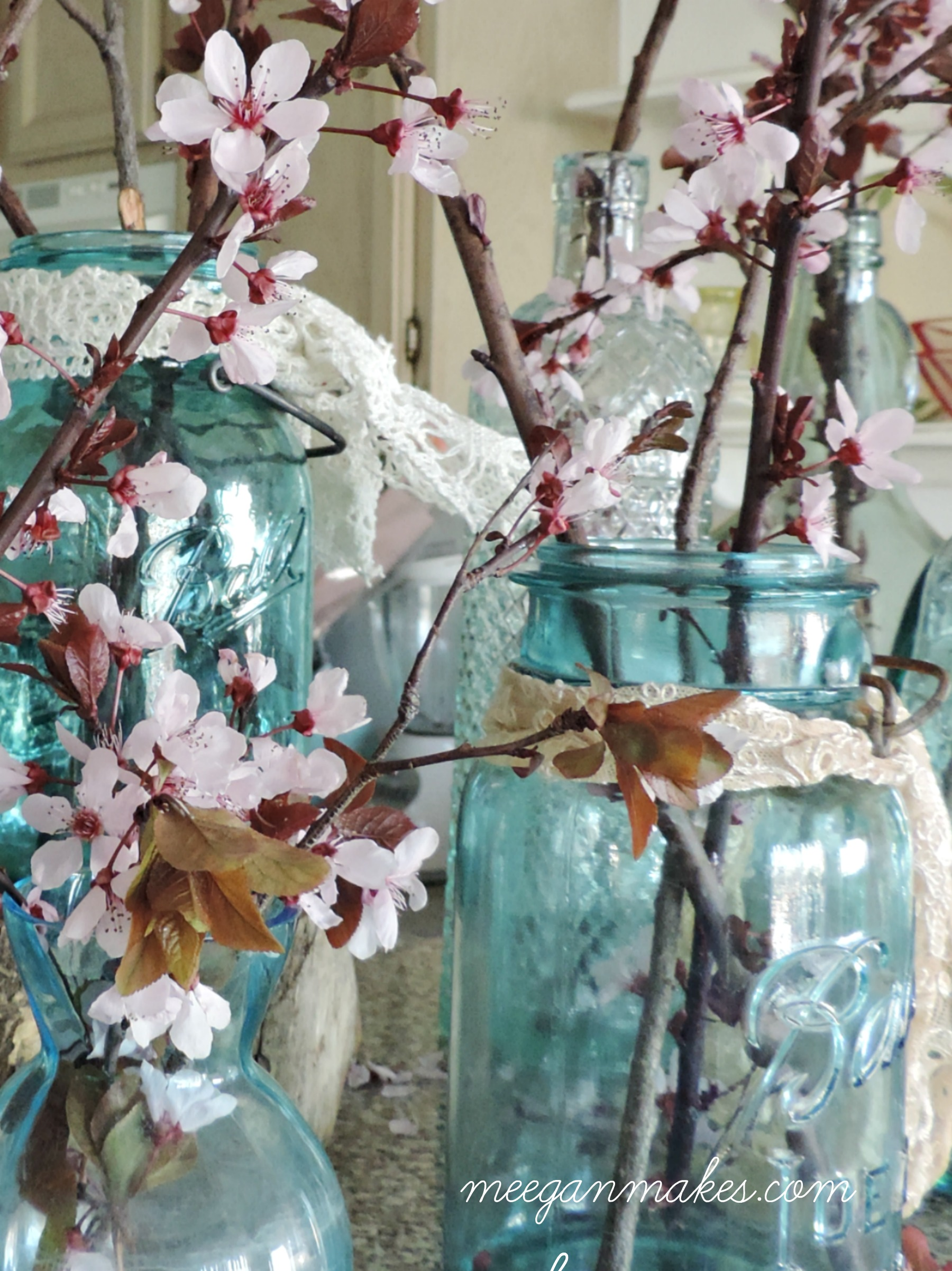 Vintage Mason Jars with Cherry Blossoms
