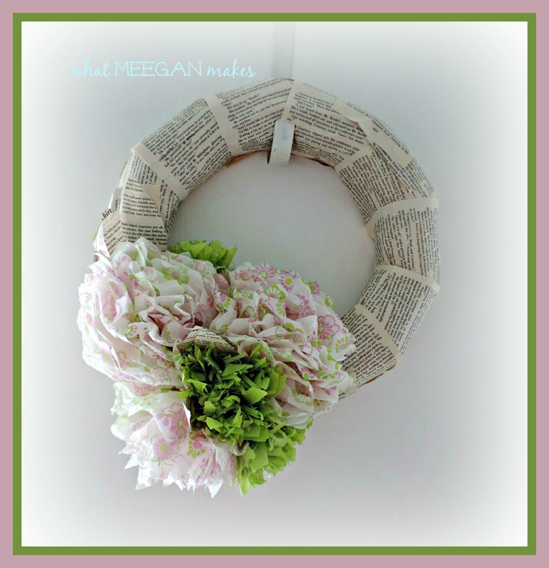 Book Page Wreath with Tissue Flowers by meeganmakes
