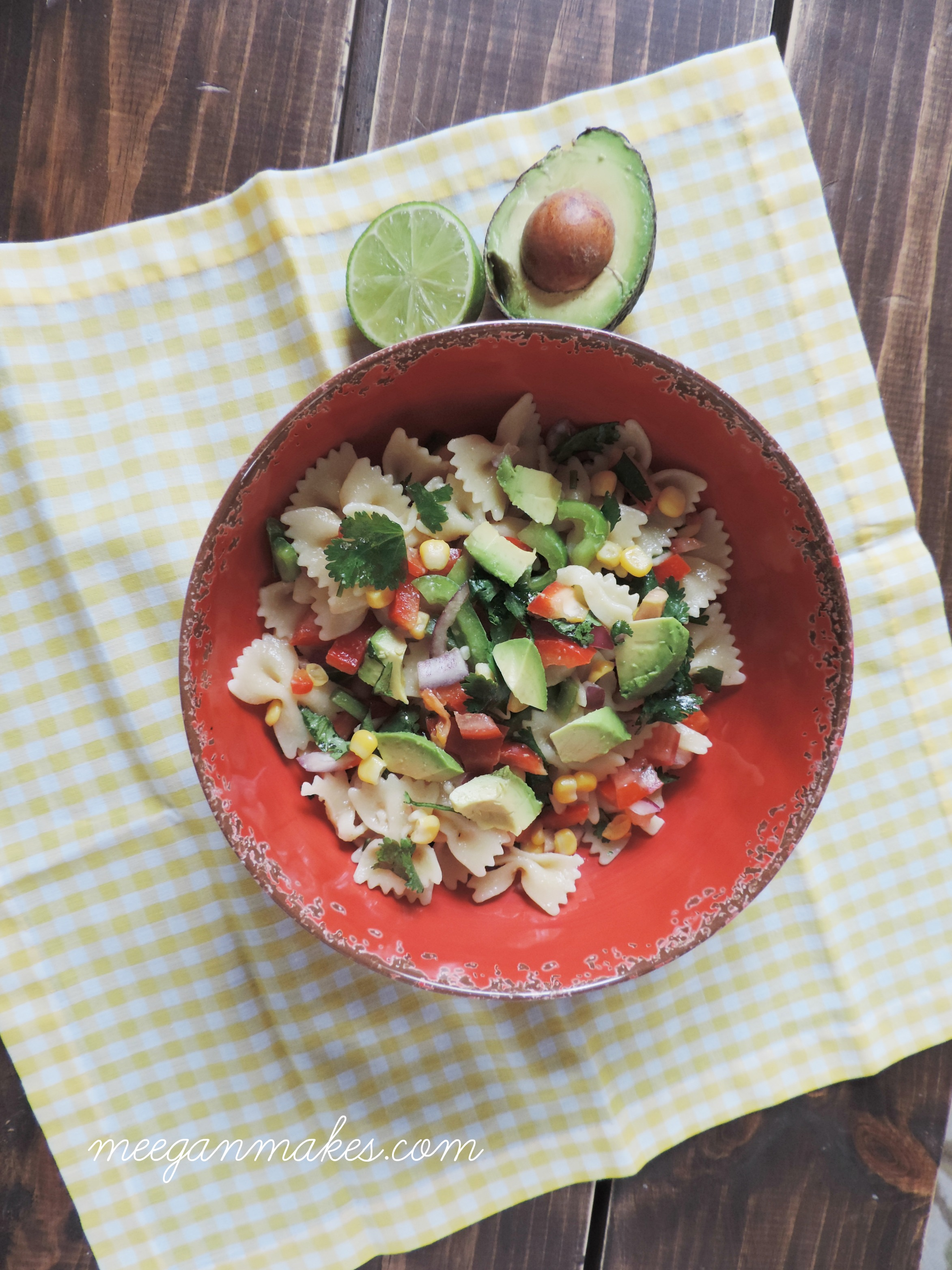 Bow Tie Salad with Avocado, Corn and Peppers