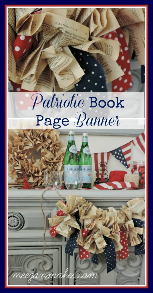 How To Make a Patriotic Book Page Banner by meeganmakes.com