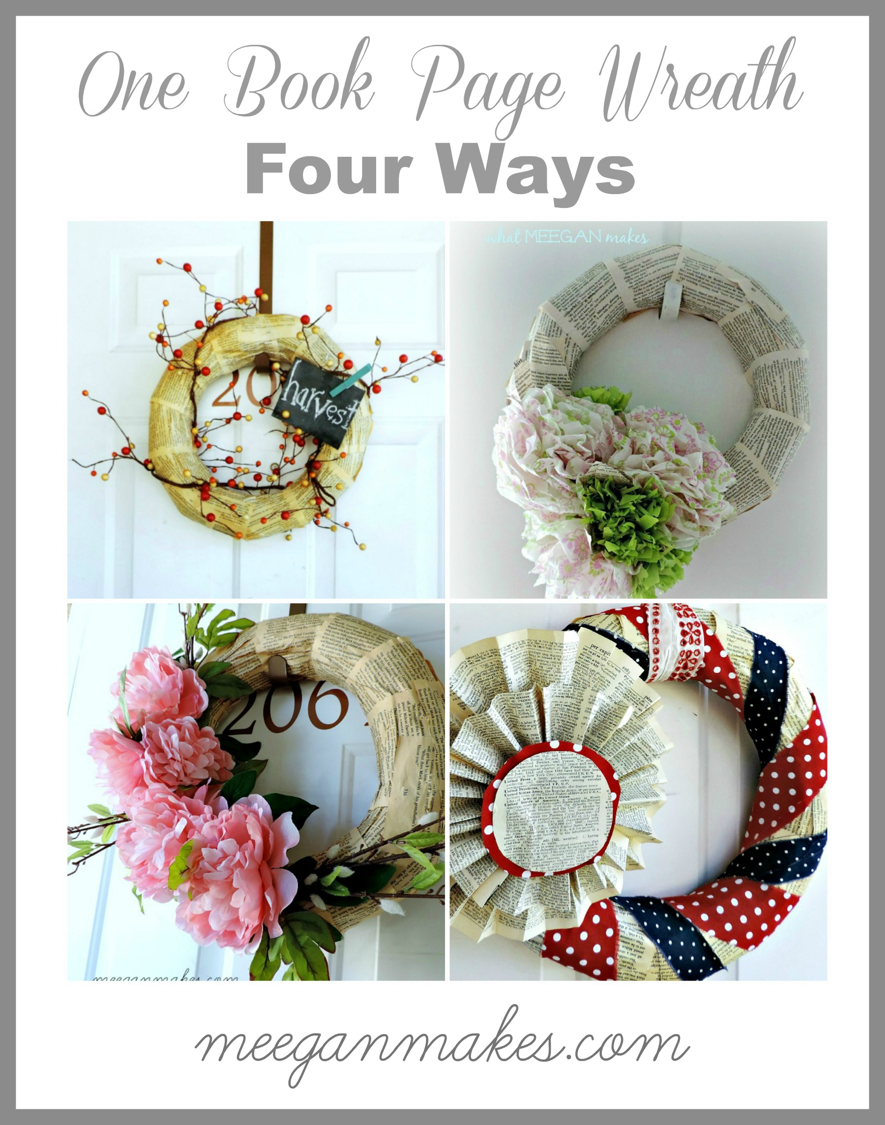 One Book Page Wreath Four Ways