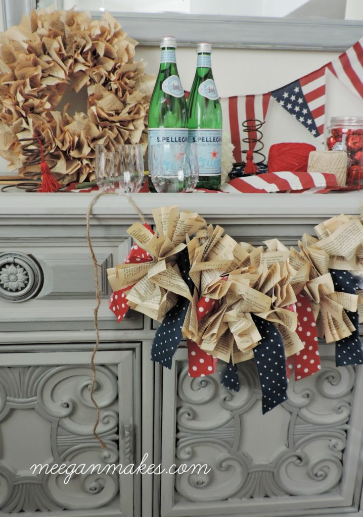 Patriotic Book Page Banner with Red White and Blue Polka Dots.