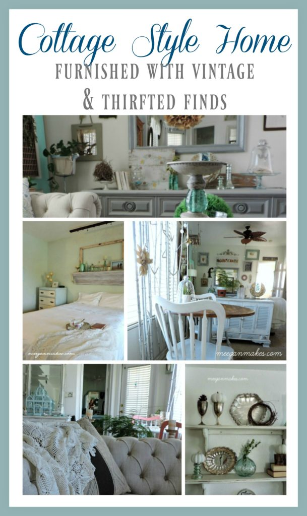 Cottage Style Home Furnished with Vintage & Thrifted Finds by meeganmakes.com