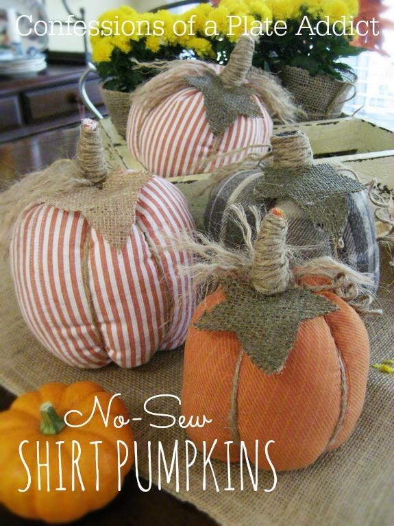 CONFESSIONS OF A PLATE ADDICT No-Sew Shirt PumpkinsPinterest