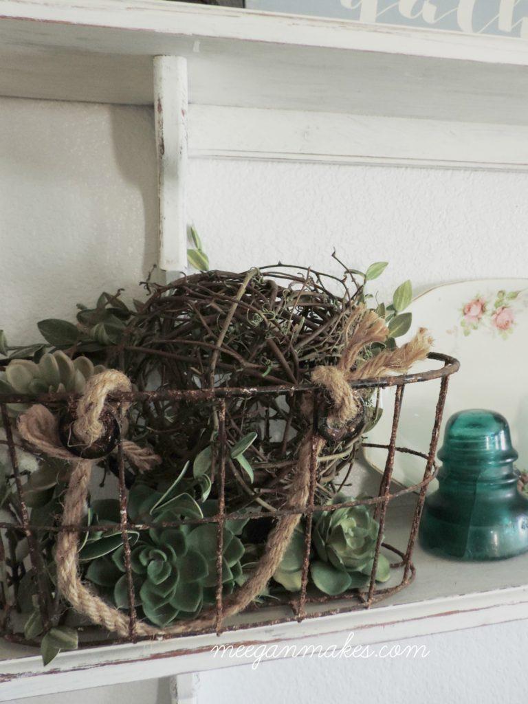 Kitchen Shelves with Vintage Basket