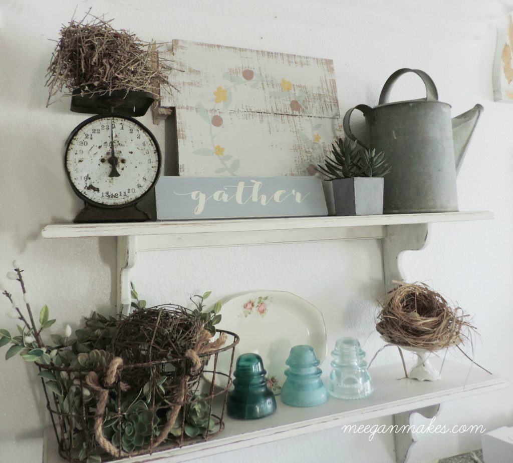 Open Kitchen Shelves with Vintage pieces.