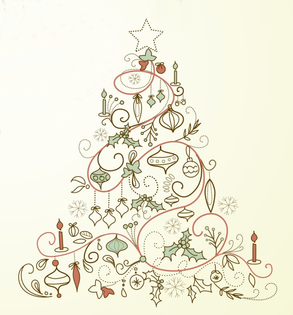 Five Vintage Christmas Tree Printables